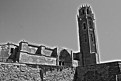 Seu Vella de Lleida (HDR, b/n)